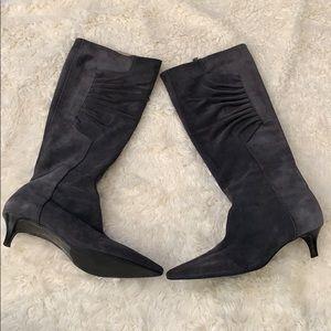 TALBOTS suede pointed kitten heel boots